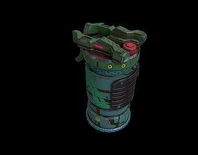 realtime Low poly sci fi grenade weapon asset