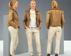 Casual Blonde in Brown Leather Jacket and Jeans 3D asset