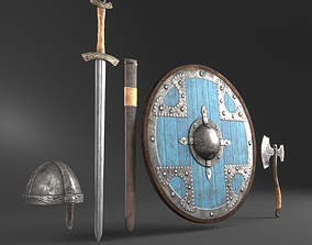 3D asset VR / AR ready Viking Weapons