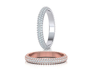 3 ROW DIAMOND WEDDING BAND 3dmodel