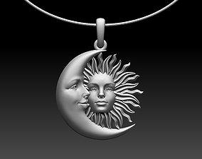 3D printable model pendant sun moon