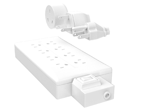 110 and 220 plugs plus power strip 3D model