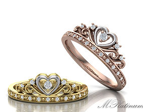 Queens crown ring 0052 3D print model