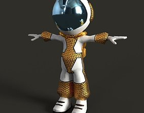 Astronaut Low Poly game Character mode 3D asset