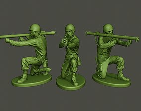 3D print model American soldier ww2 Shoot crouched A4