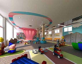 Kindergarten Hall with Playground 3D
