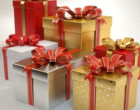 3D model Gift Boxes Set Christmas Presents