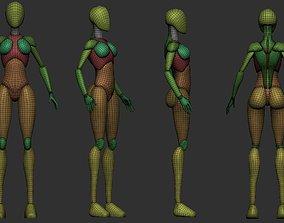 Stylized blockout woman body 3D model