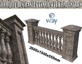 granite 3D Granite fence with balusters and columns