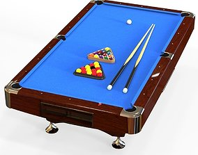 american pool table 3D asset game-ready