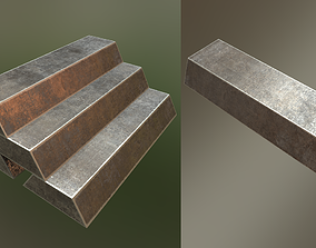 PBR Iron Ingot Stacked and Single 3D model game-ready