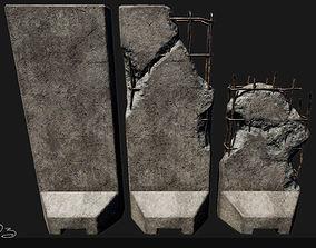Low Poly PBR Concrete Blast Wall 3D model VR / AR ready