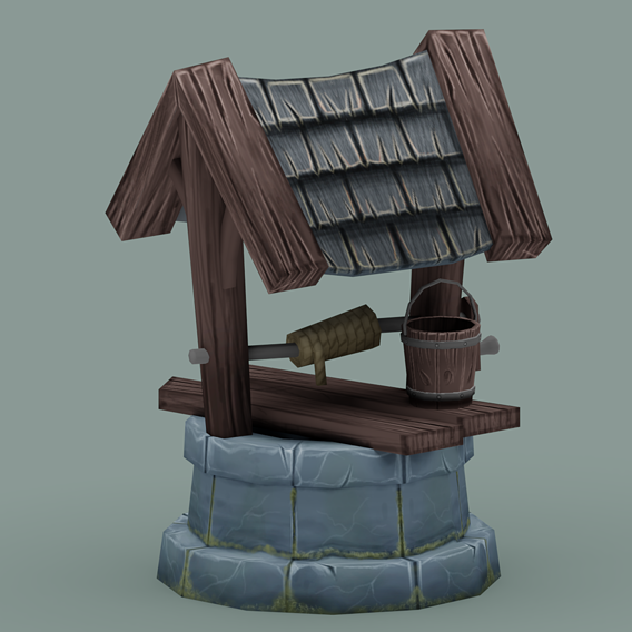 Lowpoly Hand Paint Stone Well