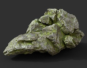 3D model Low poly Mossy Rock Formation 14 190416