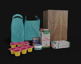 3D asset Grocery collection Milk Carton Can yogurt and 2