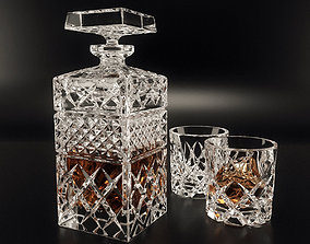3D Bohemia Crystal Decanter Set