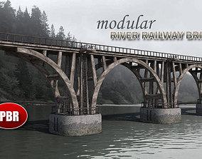 Modular River Railway Bridge 3D