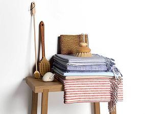 Stack of Towels with Brushes 3D model