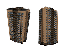 multi-storey brick residential building 3D model