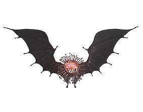 3D Black coronavirus with bat wings