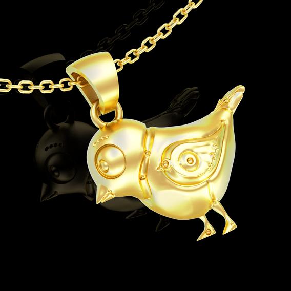 mechanic bird pattern pendant jewelry gold necklace 3D print model