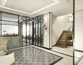 shelves 3D model Classical Office Interior