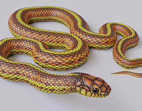 Animated Yellow Snake 3D model