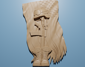 Military Fallen Army US Veteran relief 3D for CNC Router