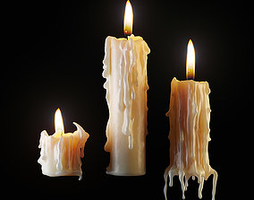 3D Three melted candles