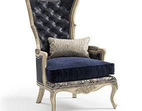 Massoud Celeste Leather Wing Chair 3D model