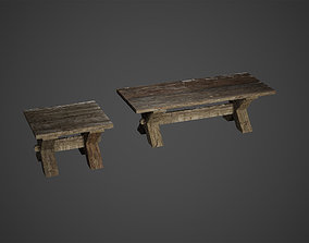 Medieval Wooden Benches Low Poly Game Ready 3D asset