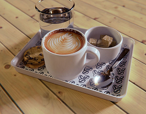 3D Coffeecup set on a tray