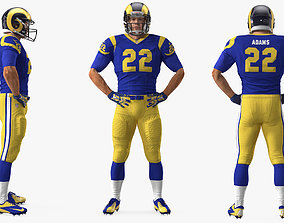 3D American Football Player Los Angeles Rams Fur Rigged