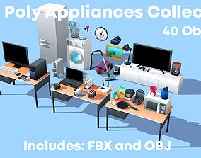 Low Poly Appliances 3D Models Collection VR / AR ready