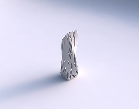 3D printable model Vase twisted bent rectangle with cuts