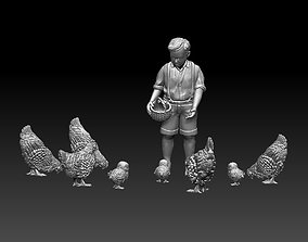 boy and chicken 3D printable model