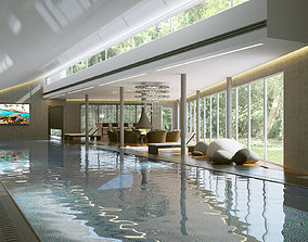 Interior modern swimming pool 3D