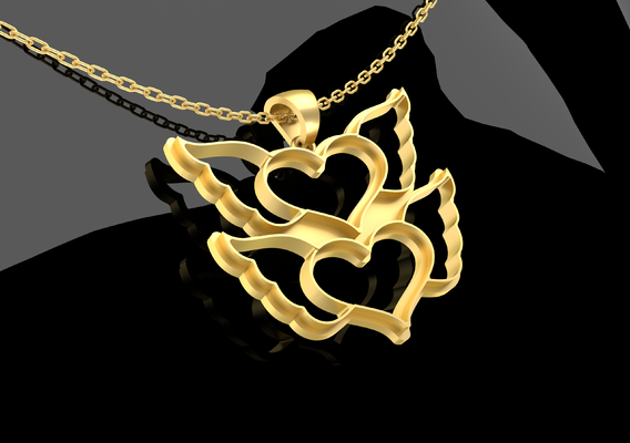 Two Bird Hearts Pendant Jewelry Gold 3D print model