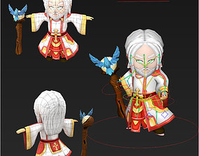 Clash royale style animated Dove Guardian fantasy 3D model