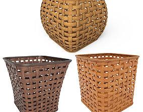 Wicker wooden baskets 3D asset realtime
