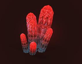 obelisk mineral crystal red 3D asset