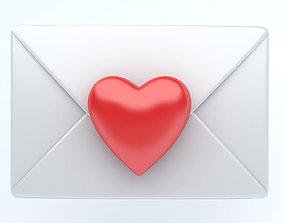 3D asset Envelope whit heart icon emoji