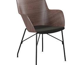 3D Chair Kartell Q-Wood dark wood black
