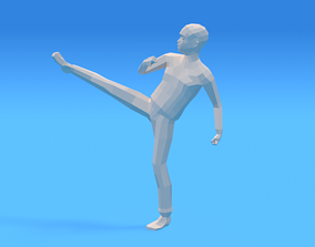 Low Poly Kid Fighting 3D asset