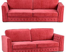 3D Budapest sofa in lingonberry velour wheels