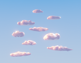 3D model VR / AR ready Low poly clouds