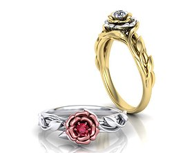 Leaves Rose Engagement ring Own design 3D print model 3
