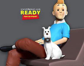Tintin and snowy 3D print model