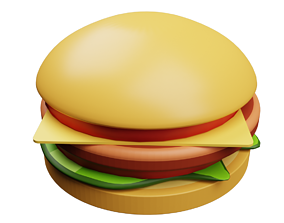 3d model fast food burgers low-poly