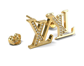 LV logo Earrings 2 3D printable model